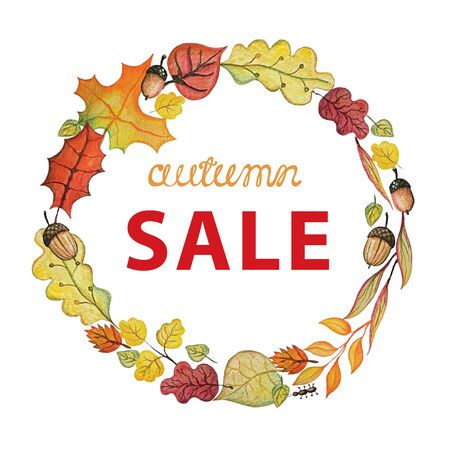 allocated on white: Vintage Watercolor autumn wreath .Colored branches, leaves,acorn set.Hand drawing isolated objects on white background. Autumn sale illustration. Objects allocated in the path