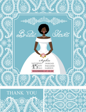 Wedding Bridal shower invitation set.Mulatto Bride in wedding dress,paisley lace pattern,lettering title ,retro design.Winter season save the date,thank you card.Holiday Vector,fashion illustration