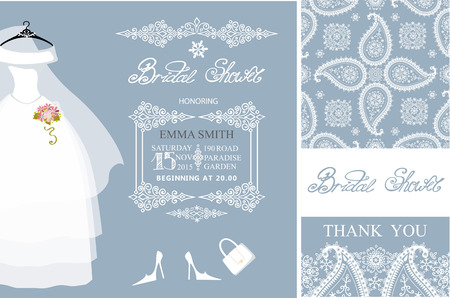 Bridal shower invitation set.Bridal wedding dress,paisley lace seamless pattern.Winter season decoration,lettering,retro design template. Save the date, thank you card.Holiday Vector,fashion illustration