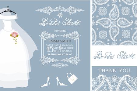 Brautdusche Einladung set.Bridal Brautkleid, Paisley-Spitze nahtlose pattern.Winter Saison Dekoration, Beschriftung, Retro-Design-Vorlage. Speichern Sie das Datum, danke card.Holiday Vektor, Mode-Illustration