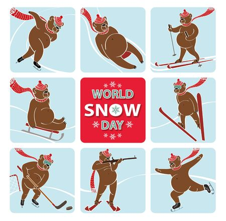 World snow day.Cartoon brown bear plays a winter sport.Sprint,Luge,skis,sledges,ice hockey,ski jumping,figure skating and biathlon. Screensavers,icons. Vector humorous illustration.Anmal set Illustration