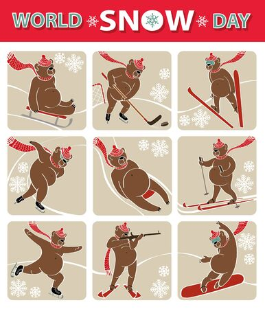luge: World snow day.Cartoon brown bear plays a winter sport.Flat icons.Sprint,Luge,skis,sledges,ice hockey,ski jumping,figure skating and biathlon. Screensavers,icons.Vector humorous illustration.Animal set Illustration