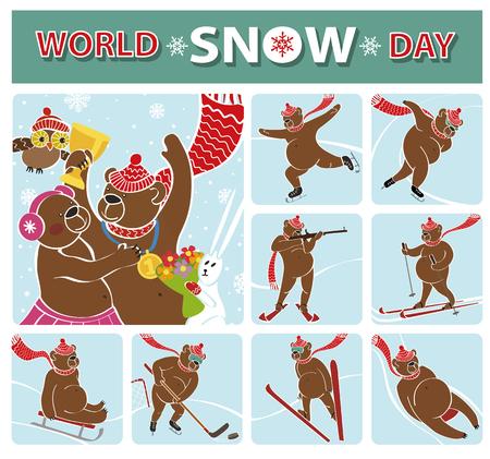 awarding: World snow day.Brown bear champion standing on pedestal.Winter sport icons.Competitions ,Awarding of the winners.Vector Humorous illustration, cartoon flat bear.International sport day Illustration