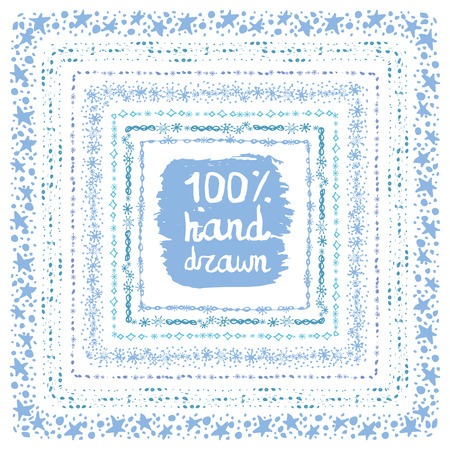 Christmas Hand drawn snow square frames set.New year doodle pattern textures,snowflakes, stars,point ornament.Decoration vector,cyan set.Winter symbols,isolated wreath.For card,invitations