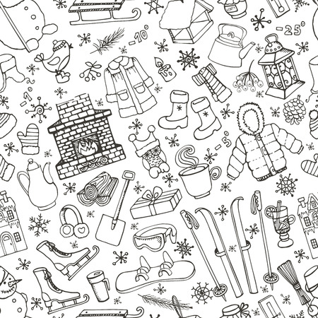 Winter season doodle seamless pattern. knitted wear,winter sports,snowflakes,birds,snowman,fireplace with other Christmas symbols, new year elements background.Hand drawn vector.