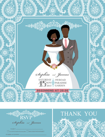 Wedding invitation cards set.Mulatto Bride and groom couple,paisley lace pattern,frame,retro design.Winter season save the date,thank you ,RSVP.Holiday Vector,fashion illustration