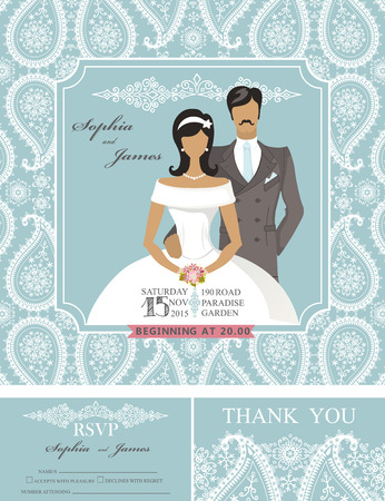 Wedding invitation cards set.Bride and groom couple,pisley lace pattern,frame,retro design.Winter season save the date card, thank you card,RSVP.Holiday Vector,fashion illustration Illustration