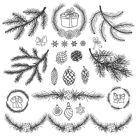 decoraton: Christmas tree branches black silhouette,pine cones,bow,balls,snowflakes.Spruce,fir isolated decor elements.Wreath,garland for invitations cards.New year holiday vector,nature illustration and Winter.