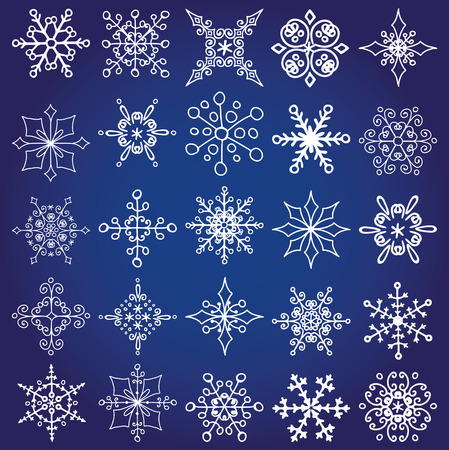 Snowflakes icons set,shapes Silhouette.Christmas decoration.Winter season elements.New year holiday decor.Ornate lace, crystal Vector.Vintage Doodles, isolated rosettes. Illustration