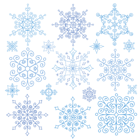 escarapelas: Snowflake big set,Silhouette icon,Winter elements.Christmas,new year holiday decor.Round shape,ornate lace crystal Vector.Vintage Doodles,ornate isolated shapes,and rosettes.