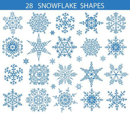 Sneeuwvlok grote reeks, pictogram Silhouet shapes.Christmas decoraties, Winter seizoenelementen. Nieuwjaars decor.Star en ronde vorm. Vector doodles, geïsoleerde vintage illustratie Stock Illustratie