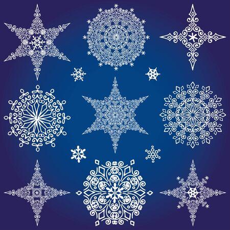Sneeuwvlok grote reeks, silhouet pictogram, Winter elementen. Kerst, Nieuwjaars vakantie decor. Ster en ronde vorm Vector doodles.
