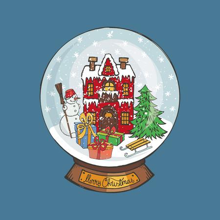 Merry Christmas sneeuwbol .Doodle klein huis en spar, sneeuwman, cadeaus onder de sneeuw. Hand tekening New Year aanwezig. Vintage eenvoudige vector, nieuwe jaar glazen bol