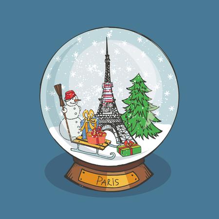 Vrolijke Kerstmis sneeuwbol met Parijs .Doodle Eiffeltoren, spar, sneeuwpop, geschenken onder de snow.Noel in Frankrijk. Hand tekening Nieuwjaar aanwezig. Vintage eenvoudige vector, nieuwe jaar glazen bal