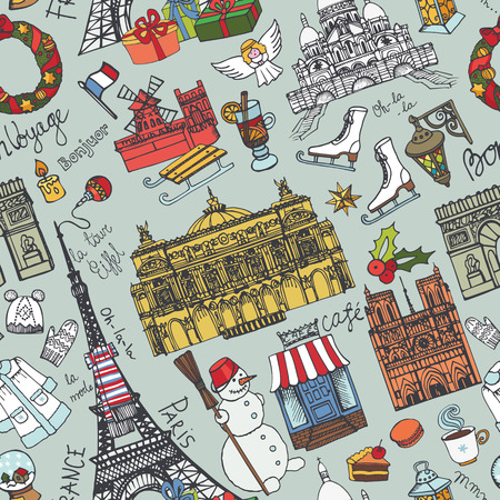 textille: Paris winter seamless pattern.Landmark,lettering set,map.Vintage Hand drawn doodle sketchy,Eiffel tower,holiday season symbols.French good travell,hello,fashion.Eiffel tower.Vector background