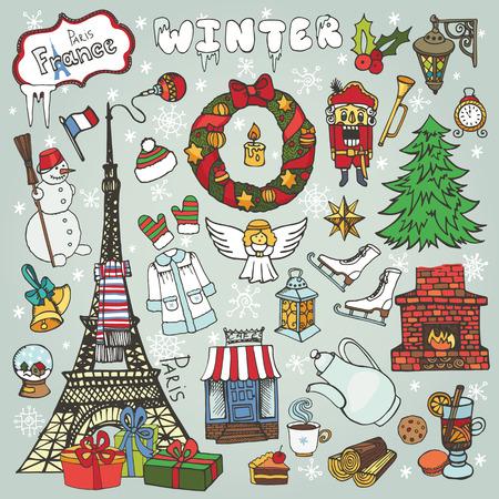 Parijs Kerstmis, vakantie, winter doodle symbolen. Eiffeltoren met hand tekening Nieuwjaar decoraties elementen. Vintage schetsmatige achtergrond. Vector, retro noel decor set