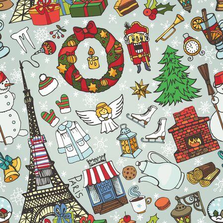Paris Kerstmis naadloze pattern.Noel Holiday winter doodle symbols.Eiffel toren met de hand tekenen Nieuwjaar decoraties elements.Vintage schetsmatig background.Vector, retro decor set, behang, ornament
