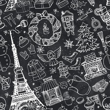 Parijs Kerstmis naadloze patroon. Noel vakantie winter doodle symbolen. Eiffeltoren met hand tekenen Nieuwjaar decoraties elementen. Vintage schetsmatige achtergrond. Vector, retro decor, behang, ornament. Bord
