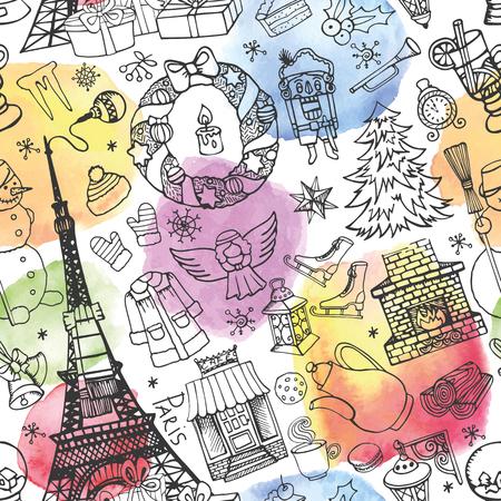 Parijs Kerstmis naadloze patroon. Noel vakantie winter doodle symbolen, aquarel spatten. Eiffeltoren, hand tekenen Nieuwjaar decoraties elementen. Vintage schetsmatige achtergrond. Vector behang, ornament
