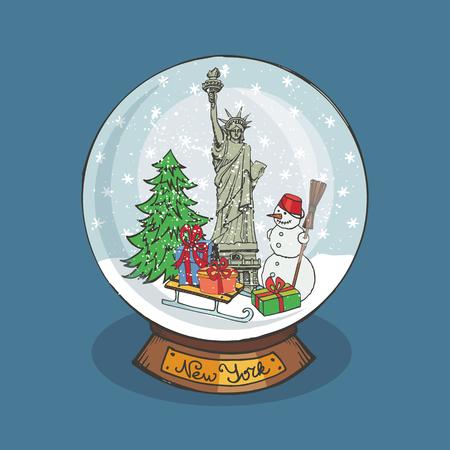 Merry Christmas-sneeuwbol met New York Stock Illustratie
