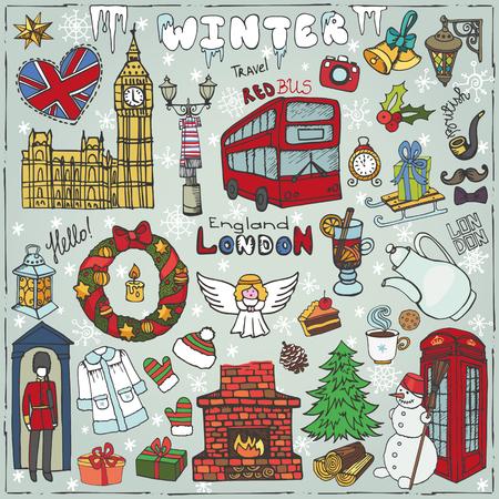 london landmark: Winter London landmark symbols
