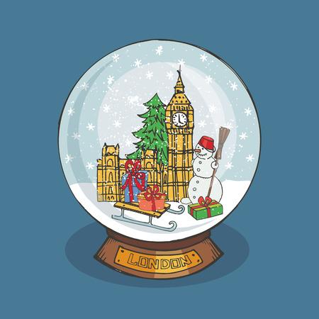 london landmark: Merry Christmas snow globe with London landmark Illustration