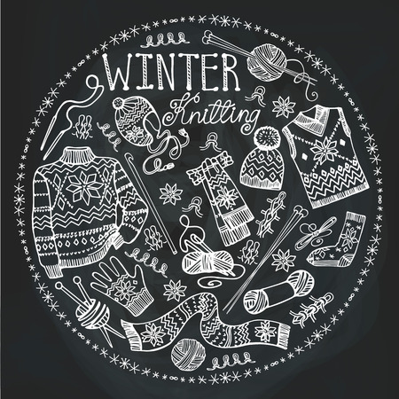 Winter knitting needlework circle composition with male knitted wear,