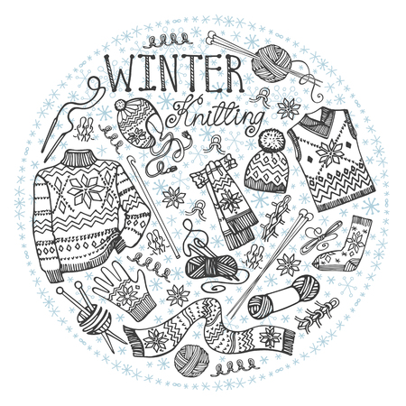 knitwear: Winter knitting  needlework circle composition with male knitwear