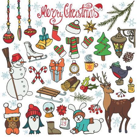 season: Christmas season doodle set