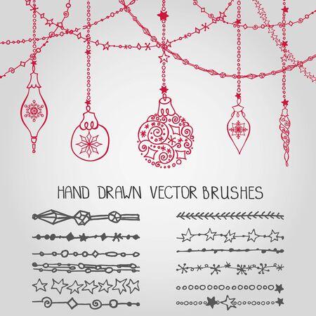 Kerst Hand getrokken garland borstels met sierlijke ballen. Nieuwjaar doodle patroonpatronen. Decoratie vector set. Wintersymbolen in lijn grens. Gebruikt borstels inbegrepen. Ontwerpsjabloon, kaart
