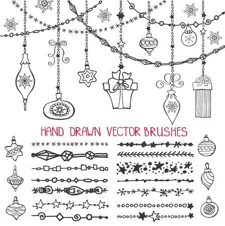 Kerst Hand getrokken lijn borstels, grenzen met sierlijke ballen. Nieuwjaars doodle patroon texturen. Decoratie vector set. Wintersymbolen slingers. Gebruikt zwarte borstels inbegrepen. Ontwerpsjabloon, kaart