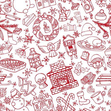 De krabbel naadloos patroon van het Kerstmisseizoen De winterdecoratie, sneeuwvlokken, voedsel, sneeuwman, open haard met vakantiesymbolen en nieuwe jaarelementen Hand getrokken vector, omslag, achtergrond.