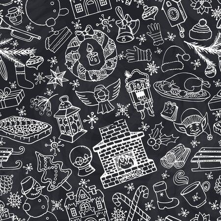 De krabbel naadloos patroon van het Kerstmisseizoen De winterdecoratie, sneeuwvlokken, voedsel, sneeuwman, open haard met vakantiesymbolen, nieuwe jaarelementen Hand getrokken vector, Bordachtergrond.