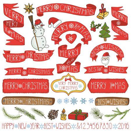 Kerst seizoen decoraties. Label, linten, spurce takken, belettering, sneeuwvlokken, sneeuwpop en doodle element. Vintage gelukkig nieuw jaar 2016 decor. Xmas design. Hand vector en vakantie set tekenen. Stock Illustratie