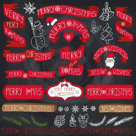 Kerst seizoen decoraties. Label, linten, vuren takken, belettering, sneeuwvlokken, sneeuwpop en doodle element. Vintage gelukkig Nieuwjaar 2016 decor. Xmas typografie design.Hand tekening vakantie vector. Schoolbord