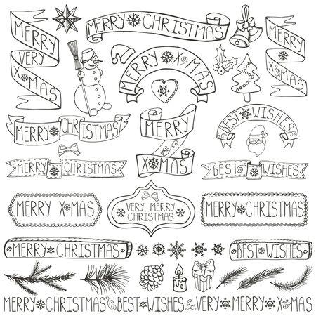 Kerst seizoen decoraties. Label, linten, vuren takken, belettering, sneeuwvlokken, sneeuwpop en doodle element. Vintage gelukkig Nieuwjaar 2016 decor. Xmas ontwerp. Hand tekening vakantie vector. Linear Stock Illustratie