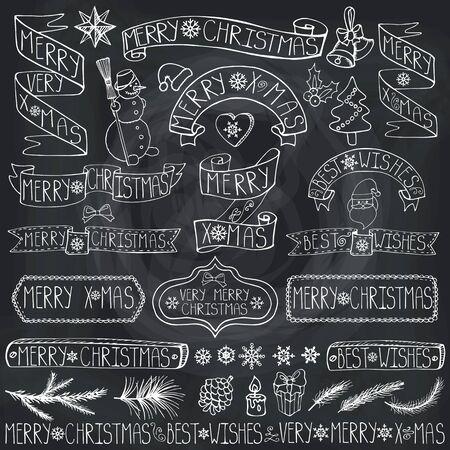 Kerst seizoen decoraties. Label, linten, vuren takken, belettering, sneeuwvlokken, sneeuwpop en doodle element. Vintage gelukkig Nieuwjaar 2016 decor. Xmas ontwerp. Hand tekening vakantie vector. Schoolbord