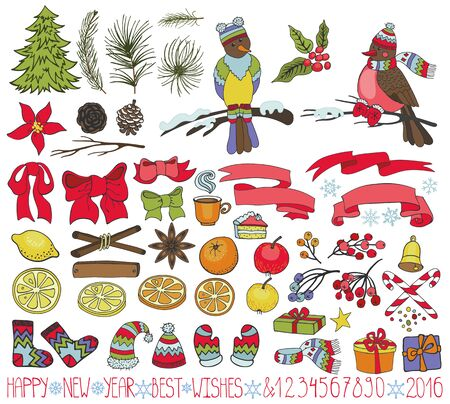 Merry Christmas-decoratie set. Gelukkig Nieuwjaar sparren takken, Poinsettia bloemen, vogels, bessen, citrus, geschenk, boog, breien. Doodle stijlvolle illustratie. Vintage winter romantische elementen voor wenskaarten