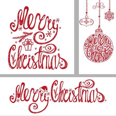 Merry Christmas Felicitatie kaarten, banner. Hand getekend belettering, vector typografie. Handschrifttitel, ballen vormen, slingers. Vintage decor, geïsoleerd op een witte achtergrond. Voor print en web Stock Illustratie