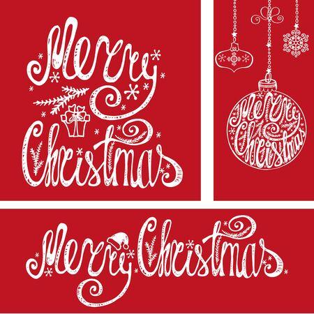 Mery Christmas Felicitatie kaarten, banner. Hand getrokken belettering, vector typografie. Handschrifttitel, ballen vormen, slingers. Vintage decor op rode achtergrond. Voor print en web