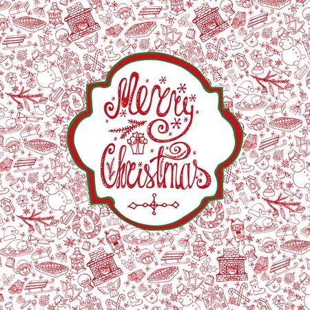 Kerst seizoen viering kaart. Doodle patroon achtergrond, label belettering. Winter symbolen decoratie, sneeuwvlokken, eten, sneeuwman, open haard, vakantie en Nieuwjaar elementen. Hand getrokken vector, uitnodiging