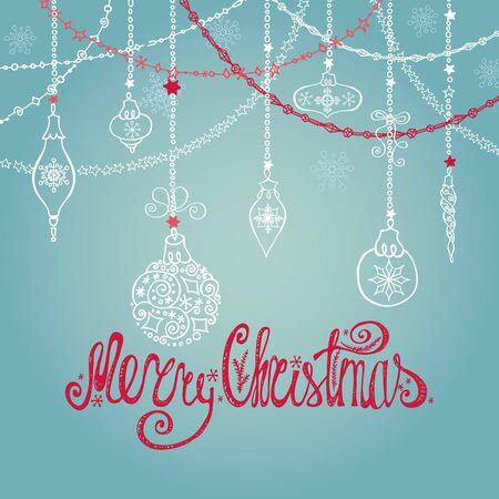 Kerst wenskaart met bal, slingers, cadeautjes en Handschrift lettering.Holiday background.New jaar template.Vintage vector.Winter decoratie, sneeuwvlokken.