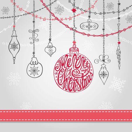 De kaart van de Kerstmisgroet met bal, slingers en lint. Vakantieachtergrond Het nieuwe malplaatje van het jaarontwerp. Allen met handschrift het van letters voorzien, citaten, woorden Uitstekende overladen vector De decoratie van de winter, sneeuwvlokken. Stock Illustratie