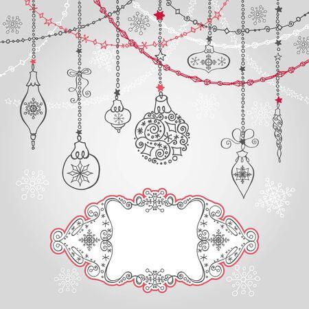De kaart van de Kerstmisgroet met bal, slingers en wervelingenetiket. Vakantieachtergrond Het nieuwe malplaatje van het jaarontwerp Uitstekende overladen vector De winterdecoratie, sneeuwvlokken.