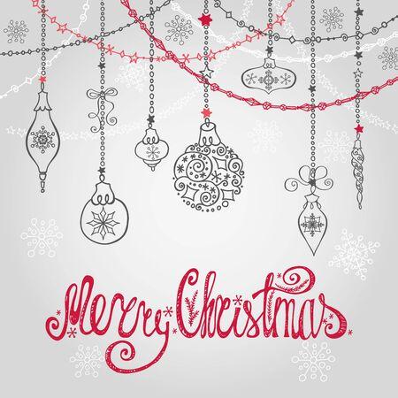 De kaart van de Kerstmisgroet met bal, slingers en Handschrift het van letters voorzien De achtergrond van de vakantie Nieuw jaarmalplaatje Uitstekende vector De decoratie van de winter, sneeuwvlokken.