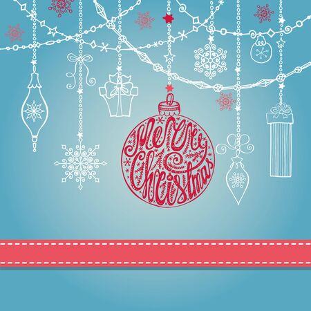 Kerst wenskaart met bal, slingers, geschenken en lint. Vakantie achtergrond. Nieuwjaar ontwerpmalplaatje. Allen met handschrift belettering, citaten, woorden. Vintage sierlijke vector. Winter decoratie, sneeuwvlokken. Stock Illustratie
