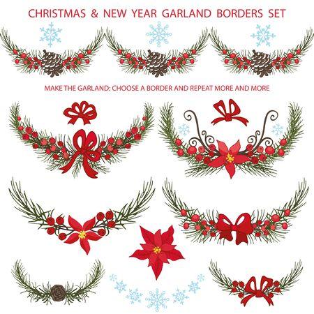 Kerstmis grenzen decoratie met boom vuren takken, rode Poinsettia bloemen, bessen, boog, kegel, snowflakes.New jaar Vintage slingers, vectorillustraties Stock Illustratie