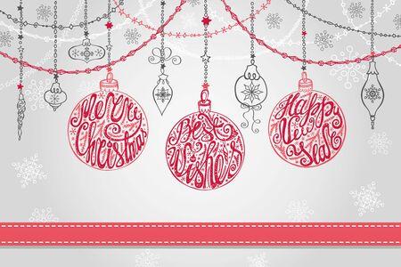 Kerstmis, Nieuwjaar wenskaart met bal, slingers, lint, handschrift belettering citaten. Vakantie achtergrond. Ontwerpsjabloon. Vintage vector. Winter decoratie, wensen en sneeuwvlokken. Stock Illustratie