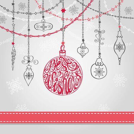 Kerst wenskaart met bal, slingers, lint. Vakantie achtergrond. Nieuw jaar ontwerpsjabloon. Handschrift belettering wensen. Vintage vector. Winter decoratie, sneeuwvlokken. Stock Illustratie