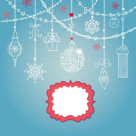 Kerst wenskaart met bal, slingers, presenteert en label. Vakantie achtergrond. Nieuwjaars sjabloon. Vintage vector. Winter decoratie, sneeuwvlokken. Stock Illustratie